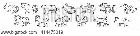 Chinese Horoscope. Rat, Ox, Cat, Rabbit, Hare, Tiger, Dragon, Snake, Horse, Goat, Monkey, Rooster, D