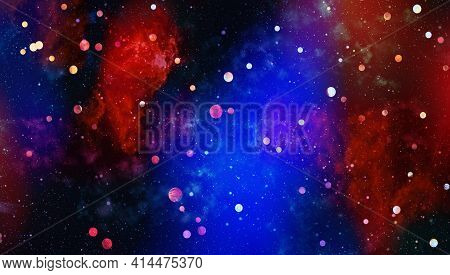 Traveling Through Star Fields In Galaxy Space As A Supernova Colorful Light Glowing.space Nebula Blu