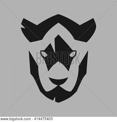 Black Panther Head Portrait Symbol On Gray Backdrop. Design Element