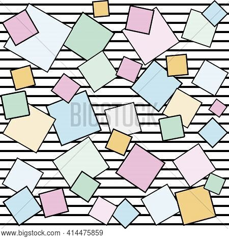Abstract Pattern Multicolored Square On Striped Background, Vector Illustration, Wallpaper Textile,