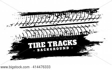 Absract Vehicle Tire Track Impression Background Vector Template Design