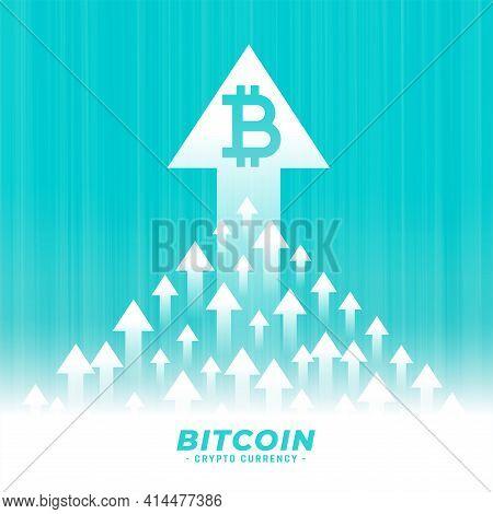 Upward Growth Of Bitcoin Concept Design With Arrow