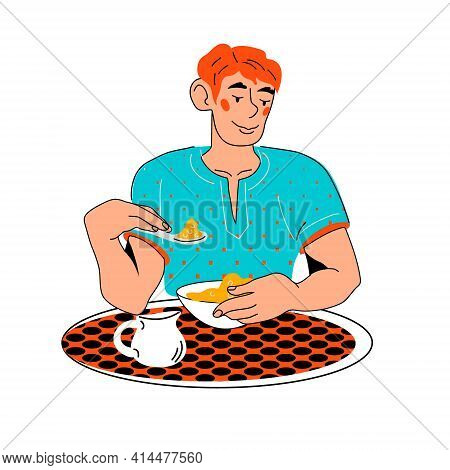 Young Man Eating Healthy Food At Table, Cartoon Vector Illustration Isolated On White Background. Ma