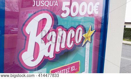 Bordeaux , Aquitaine France - 03 25 2021 : Banco Fdj French Sign Logo Lotto From La Francaise Des Je