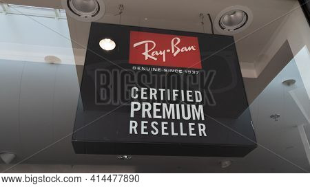 Bordeaux , Aquitaine France - 03 25 2021 : Ray-ban Certified Premium Reseller Sign Text And Logo Sto