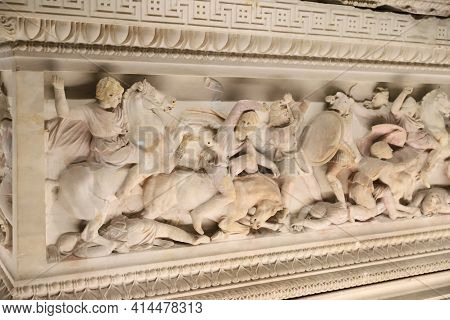 Istanbul, Turkey - January 27, 2021: Alexander Sarcophagus In Istanbul Archaeological Museums Where