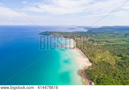 Aerial View Sea Shore White Sand Beach With Coconut Palm Tree