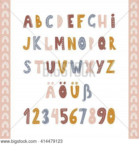 Hand Drawn German Alphabet In Boho Style. Cute Childish Letters And Numbers For Banners, Nursery Des