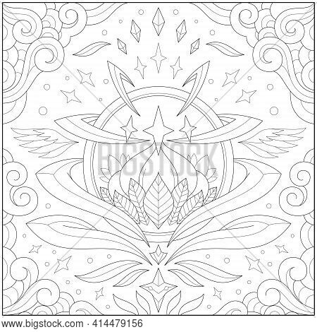 Fantasy Lotus Orb Inside Glass Ball With Border And Frame. Learning And Education Coloring Page Illu