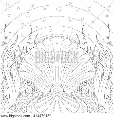 Amazing And Fancy Shining Pearl Inside The Seashell. Learning And Education Coloring Page Illustrati