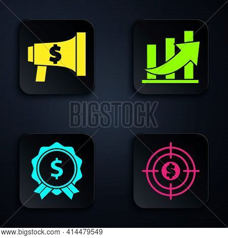 Set Target With Dollar, Megaphone And Dollar, Price Tag With Dollar And Financial Growth And Coin. B
