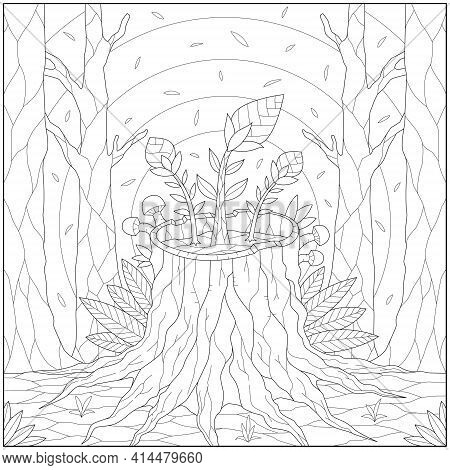 Fantasy Plant And Flower Grow On The Tree Root In The Forest. Learning And Education Coloring Page I