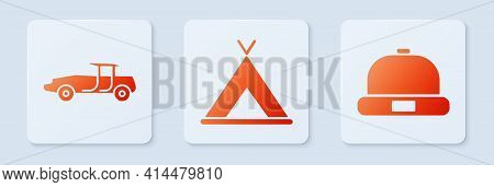Set Tourist Tent, Car And Beanie Hat. White Square Button. Vector
