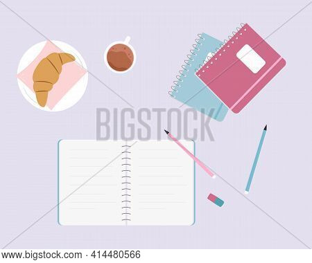 Colorful Workplace Concept. Top View Of Stylish, Cute Desk. Notebook, Cup Of Coffee, Notepads, Penci
