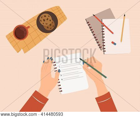 Woman Hands Writing Text In Notebook. Concept Of Writing Diary, Message To Yourself, Goals. Cozy Des