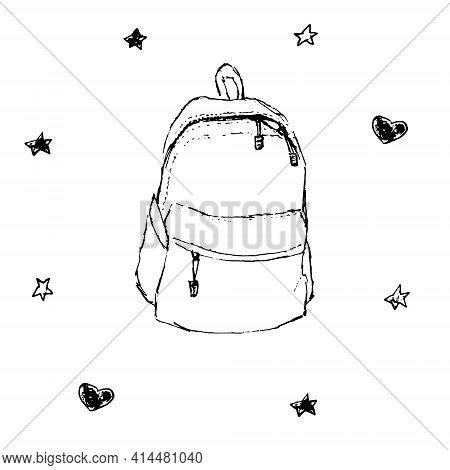 Backpack Hand Drawn Vector Illustration. Isolated Black On White Background Sketch Doodle Style Ruck