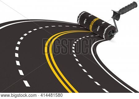 painted road with roller brush on white background. Isolated 3D illustration