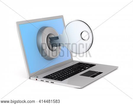 laptop and key on white background. Isolated 3D illustration