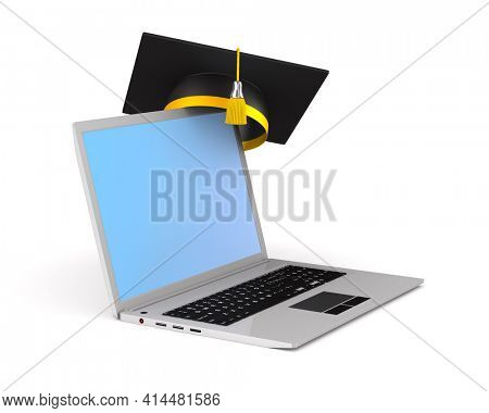 laptop and graduation cap on white background. Isolated 3D illustration