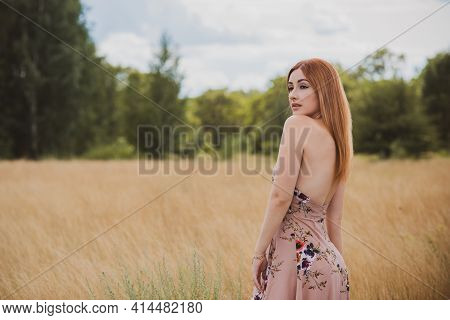 Country Vintage Mix Style, Elegant Woman In Soft Cotton Light Dress At Field . Portrait Of Nice Lady