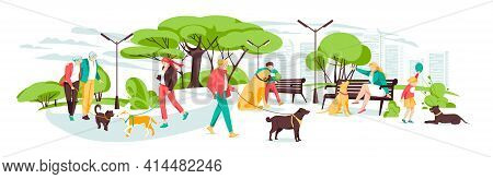 People Walking With Dogs In Urban Park. Vector Landscape In Cartoon Style. Urban Park With Dog And P