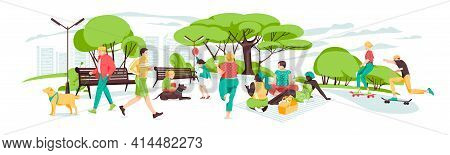 Set Of People Having Rest In The Park.various Outdoor Activities In The Urban Park.illustration Of R