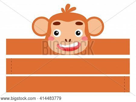 Printable Monkey Paper Headband. Party Crown Die Cut Template For Birthday, Christmas, Baby Shower.