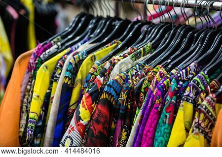 Clothes Hanging On A Rack In A Designer Clothes Store, Selective Focus