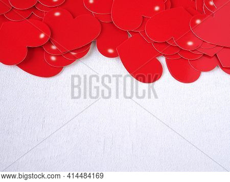 Red Heart On White Wooden Background. Concept Love, Greeting Card, Banner, Poster. Colse Up With Cop