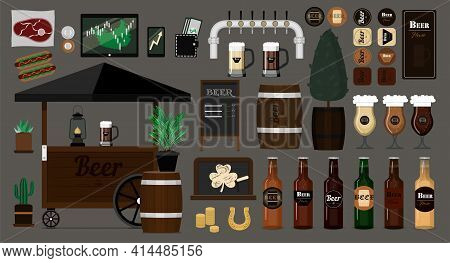 Big Vector Beer Set. Items For The Interior And Exterior Of The Bar. Flat Vector Images Of Beer Cart
