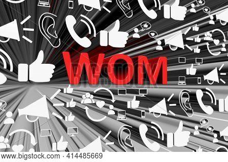 Wom Concept Blurred Background 3d Render Illustration