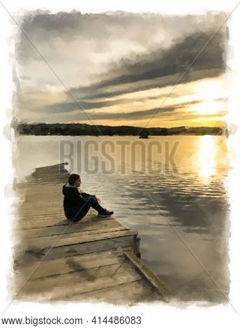 A Girl Sits On A Wooden Pier On The Shore Of The Lake And Watches The Evening Sunset. Illustration I