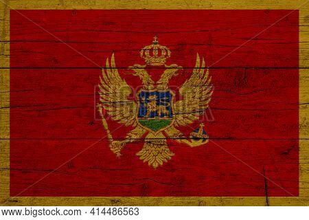 Flag Of Montenegro. Wooden Texture Of The Flag Of Montenegro.