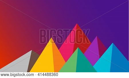 Flat Multi Colored Mountains At Dawn Landscape