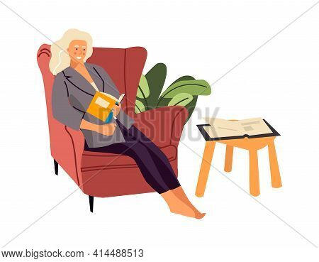 Reading Woman. Cartoon Female Sitting In Armchair And Holding Book. Smiling Character Resting At Hom