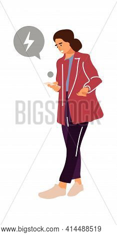 Woman With Gadget. Cartoon Female Holding Smartphone. Young Character Walking. Upset Girl Using Mobi