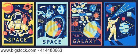 Futuristic Astronaut Posters. Cosmonaut In Outer Space. Abstract Banners Set With Psychedelic Shapes