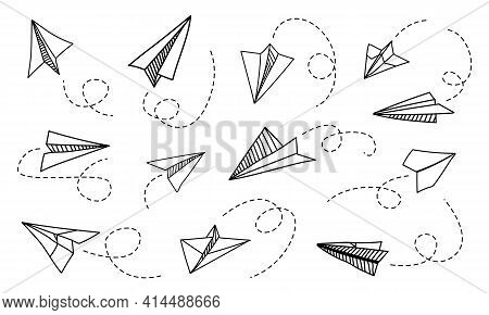 Paper Plane. Hand Drawn Doodle Airplane With Route Tracks. Message Delivery And Travel Planning. Vie