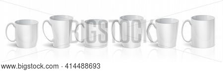 Realistic Cups. 3d White Mugs. Types Set Of Blank Ceramic Teacups. Isolated Tableware For Drinking C