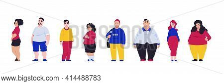 Body Positive. Overweight Men And Women Suffer From Obesity. People On Unhealthy Cholesterol Diet, P
