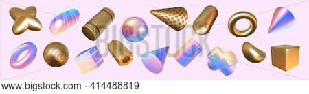 Render Shapes. Abstract Geometric Holographic Or Golden Minimal Elements. 3d Rainbow And Metallic Fi