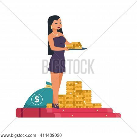 Rich Woman. Cartoon Female Holding Tray With Gold Bars. Girl Bringing Prize To Lottery Winner. Heap