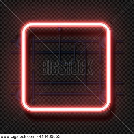 Rectangle Neon Lamp. Realistic Square Fluorescent Light. 3d Geometric Glowing Signboard And Wall Mou