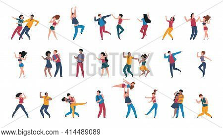Dancing Pairs. People Dance Alone, Couples Having Fun At Disco Party. Dancers Move To Music In Club