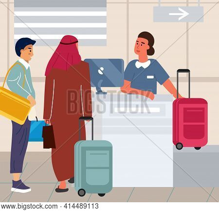 Tourists At Airport Check In Luggage. Travel By Aircraft. People Hand Over Baggage Before Boarding A