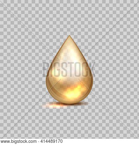 Gold Oil Drop. Petrol Golden Droplet. 3d Falling Blob On Transparent Background. Shiny Liquid Cosmet