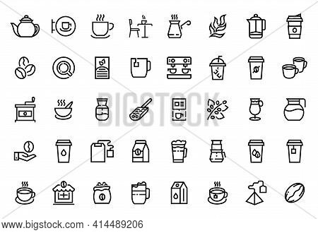 Coffee Line Icons. Coffee And Tea Shop Outline Logo. Cups With Hot Drinks. Equipment Or Ingredients