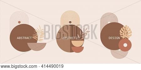 Set Of Modern Abstract Aesthetic Illustrations. Simple Balance Geometric Shapes For Prints In Boho A