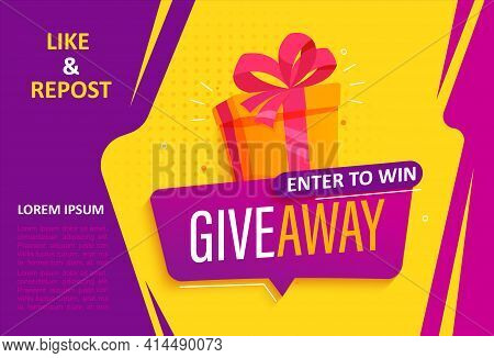 Giveaway Banner, Calling To Repost If Like. Enter To Win Web Banner With Gift Box With Prize To Winn
