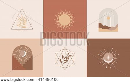 Set Of Modern Abstract Aesthetic Backgrounds With Landscape Of Desert, Sand Dunes, Geometric Shapes,
